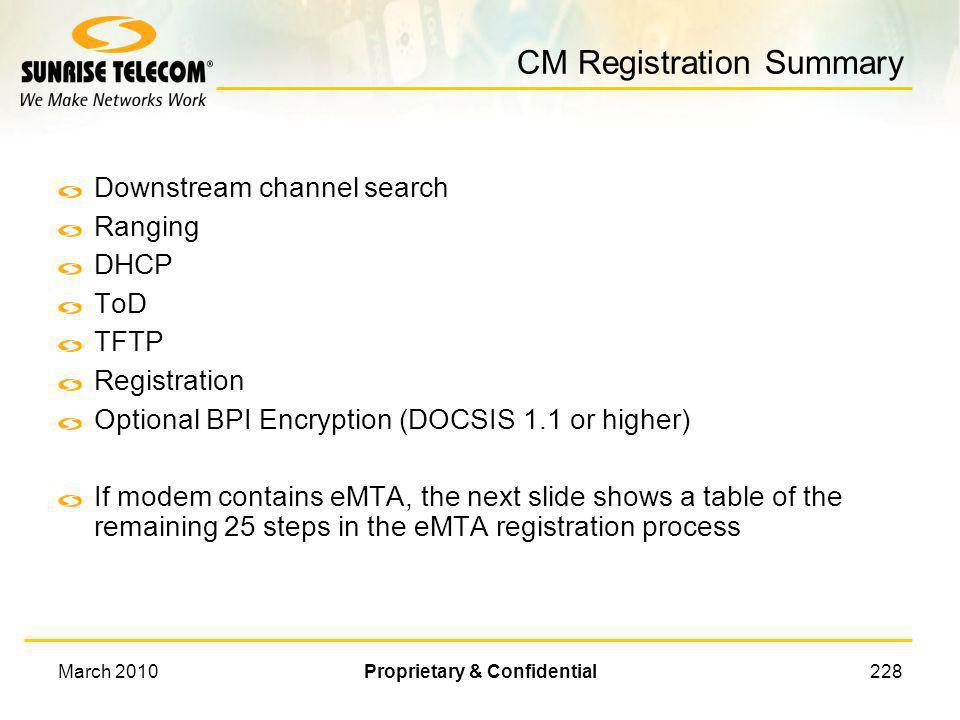 CM Registration Summary