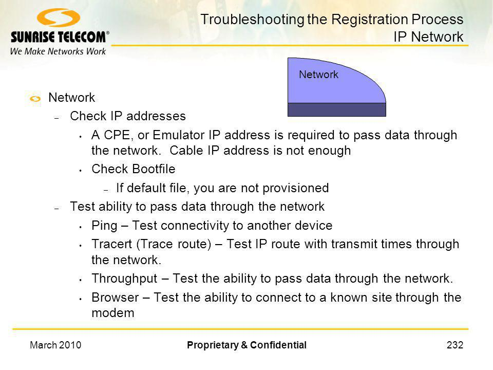 Troubleshooting the Registration Process IP Network