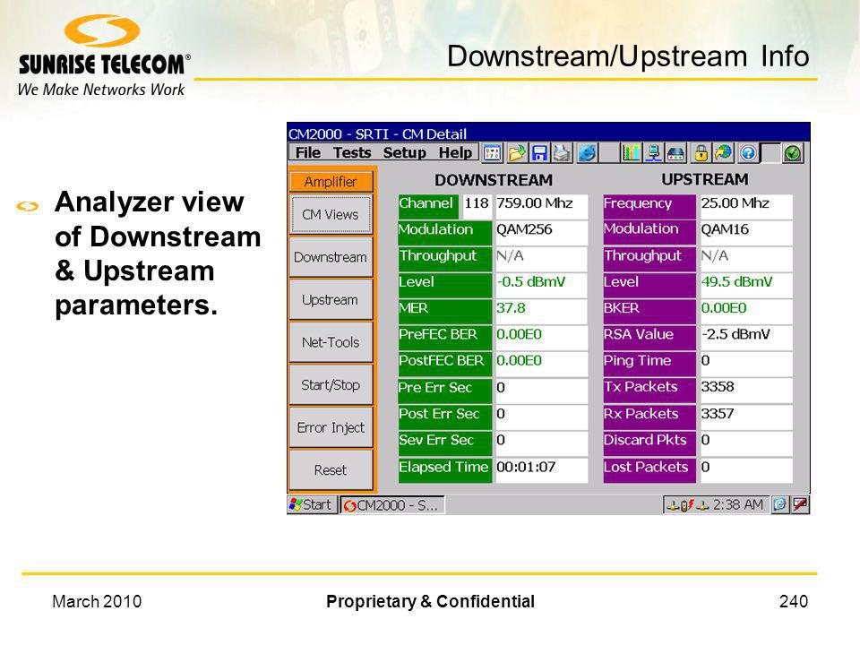 Downstream/Upstream Info