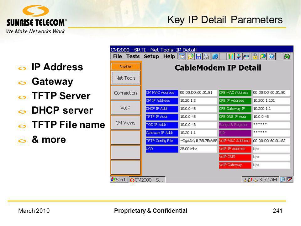 Key IP Detail Parameters