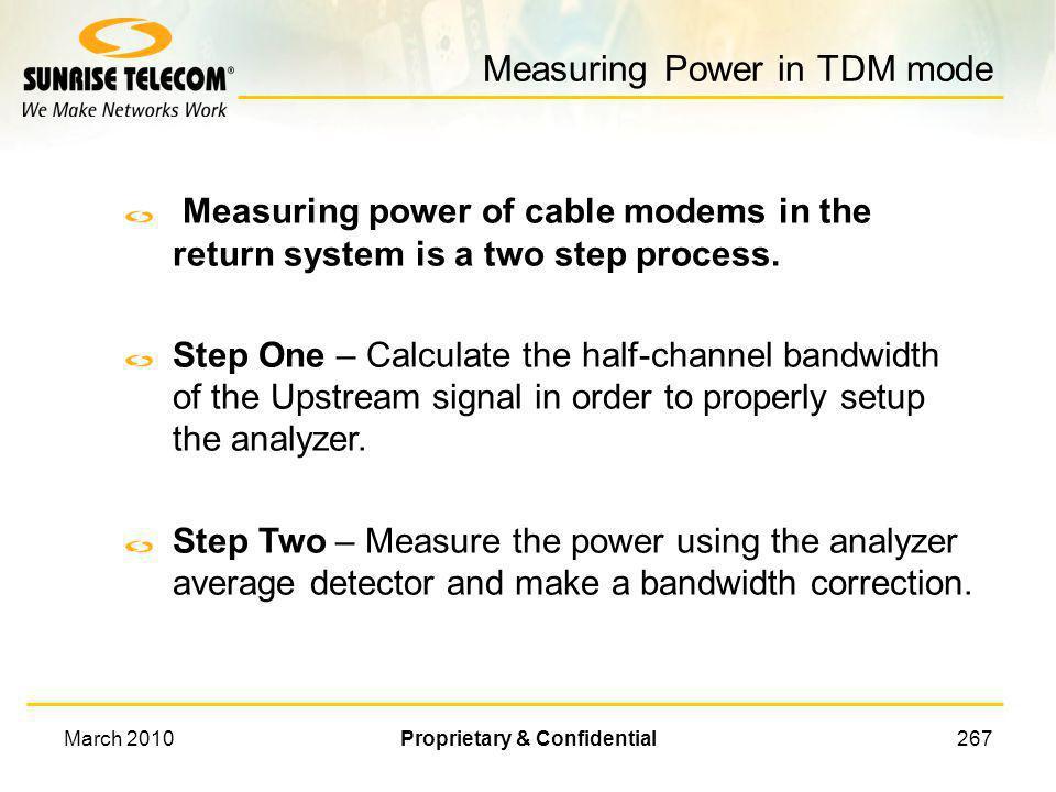 Measuring Power in TDM mode