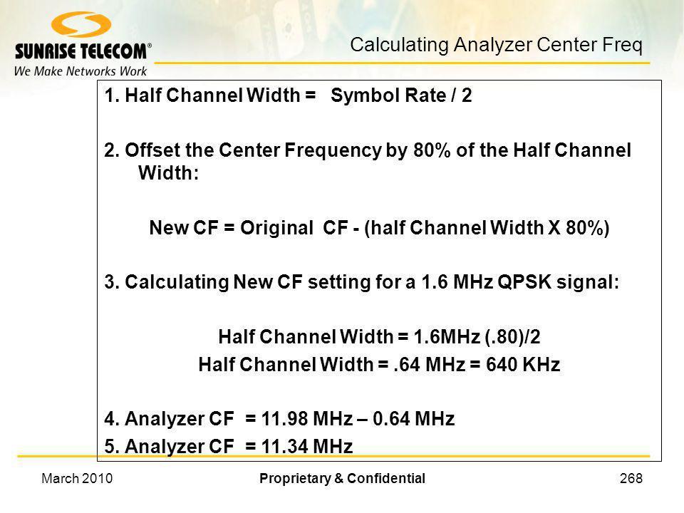 Calculating Analyzer Center Freq