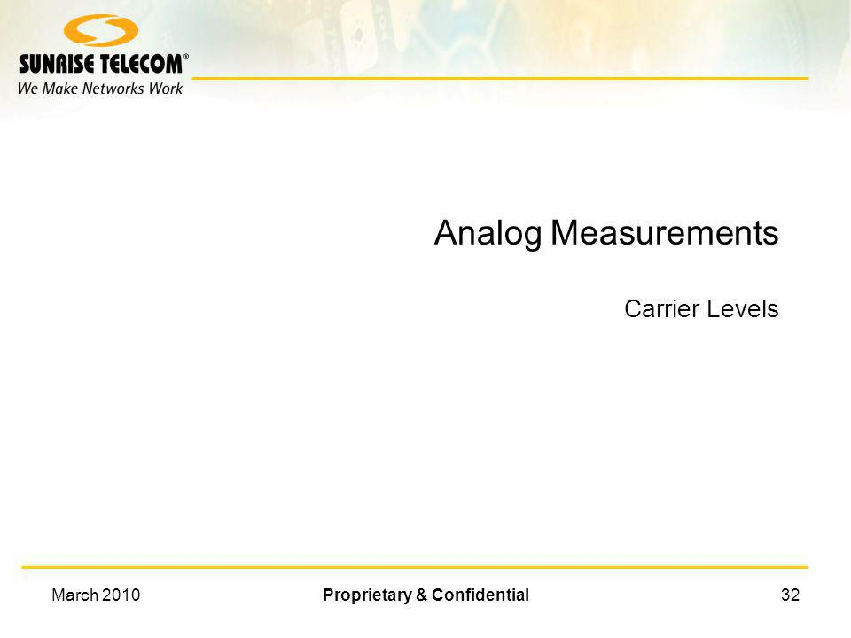 Analog Measurements Carrier Levels
