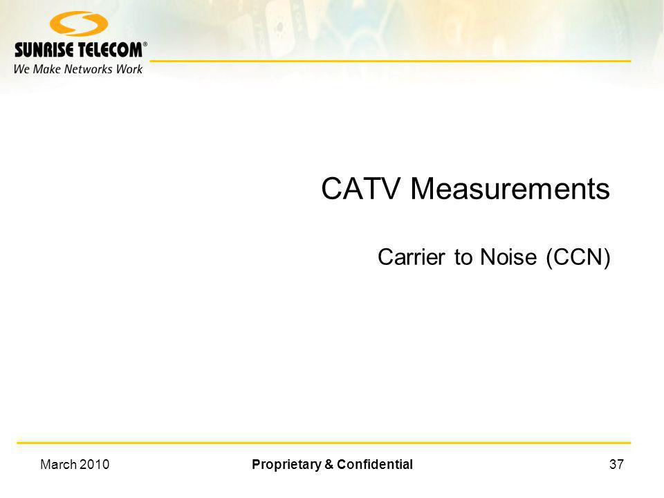 CATV Measurements Carrier to Noise (CCN)
