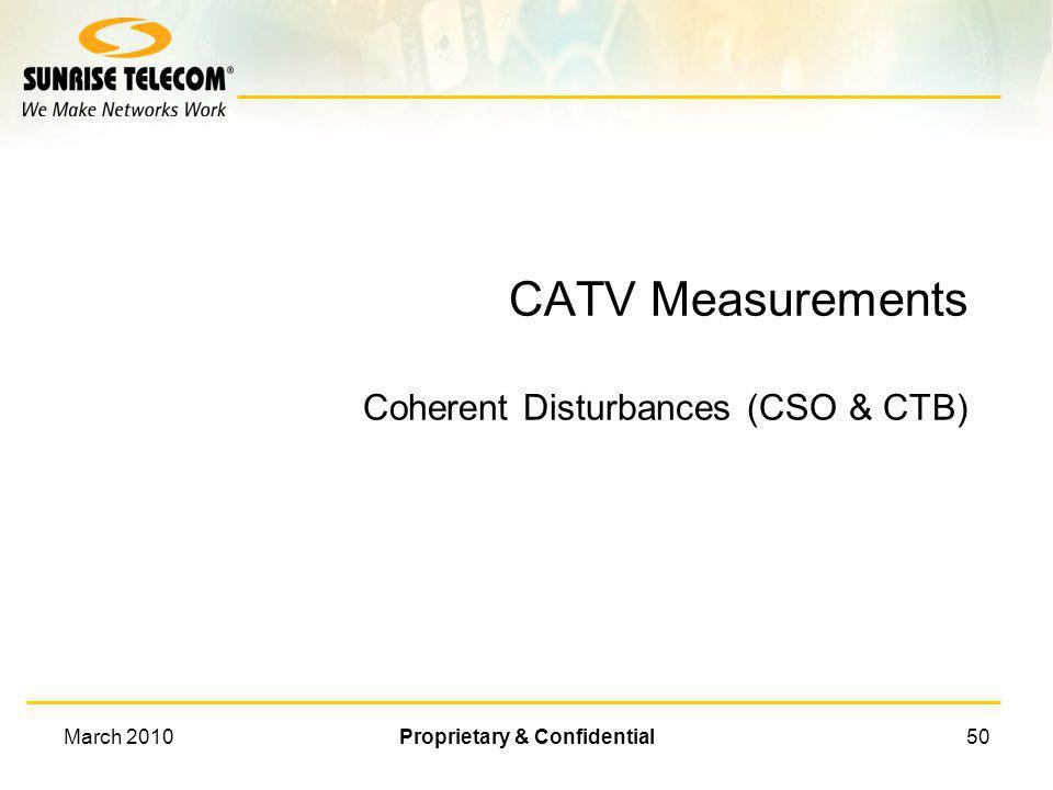 CATV Measurements Coherent Disturbances (CSO & CTB)