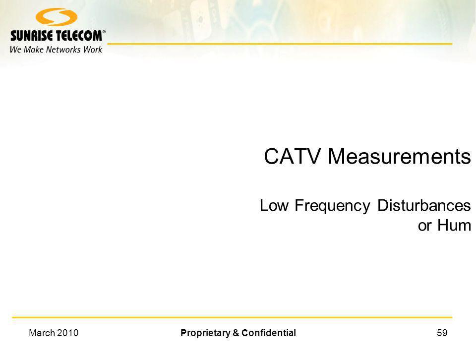 CATV Measurements Low Frequency Disturbances or Hum