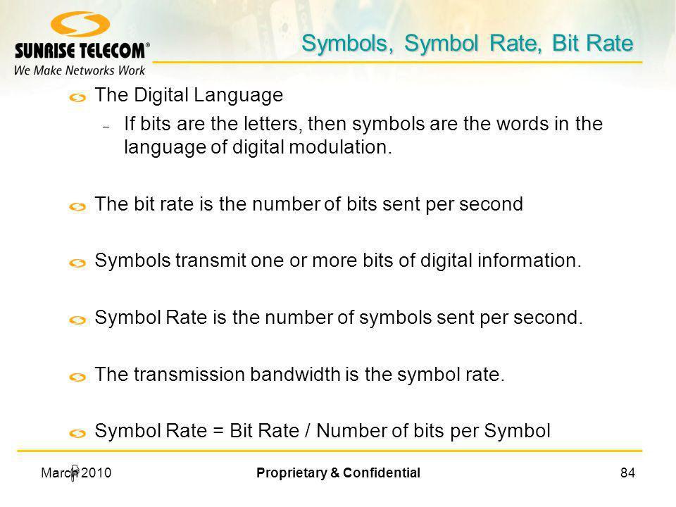 Symbols, Symbol Rate, Bit Rate