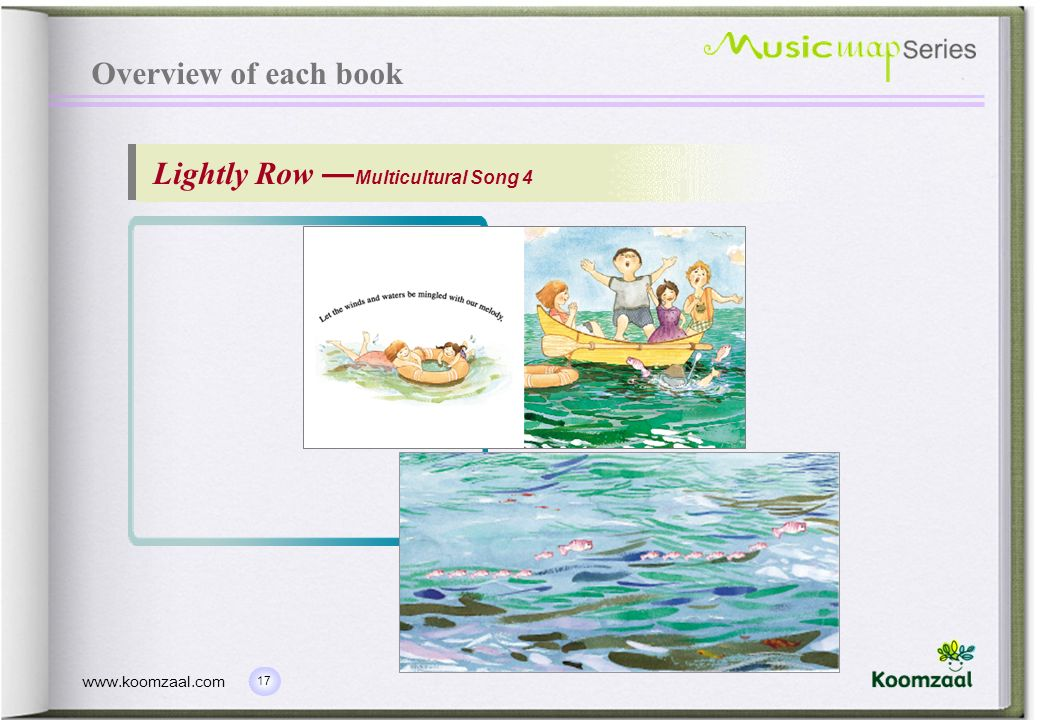 Overview of each book Lightly Row —Multicultural Song 4