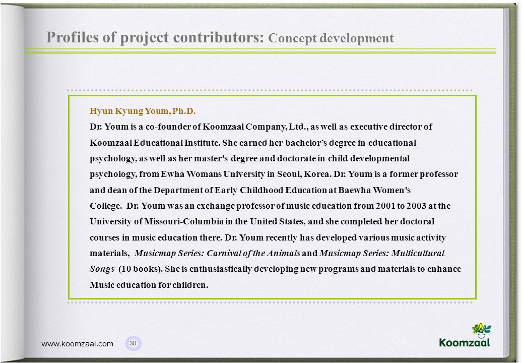 Profiles of project contributors: Concept development