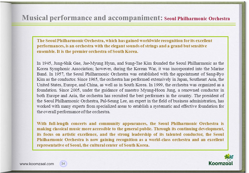Musical performance and accompaniment: Seoul Philharmonic Orchestra