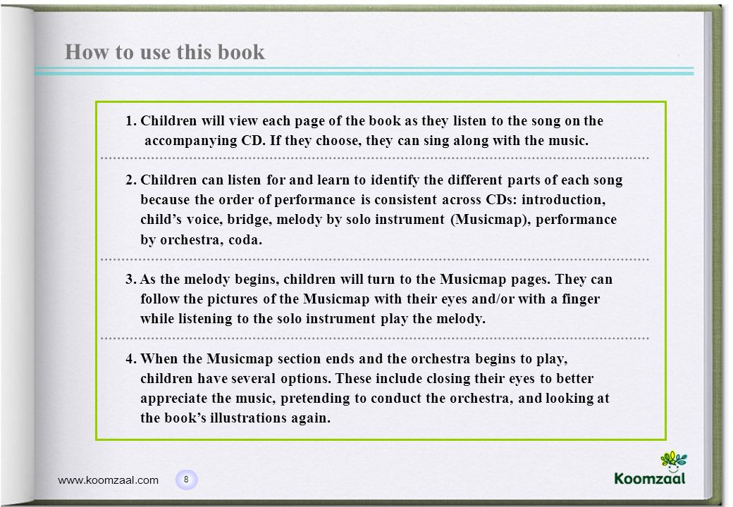 How to use this book 1. Children will view each page of the book as they listen to the song on the.