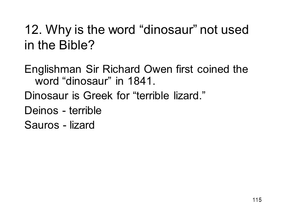 12. Why is the word dinosaur not used in the Bible