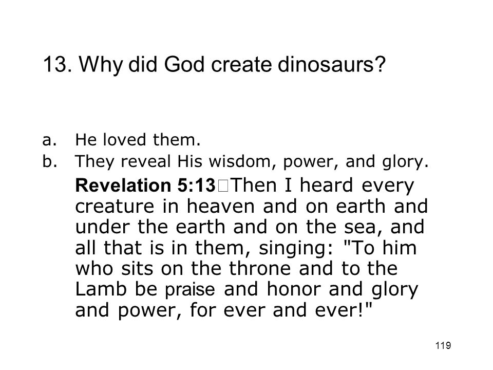 13. Why did God create dinosaurs
