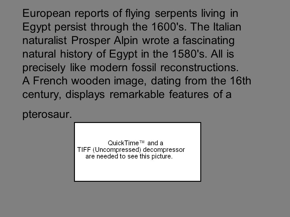 European reports of flying serpents living in Egypt persist through the 1600 s.