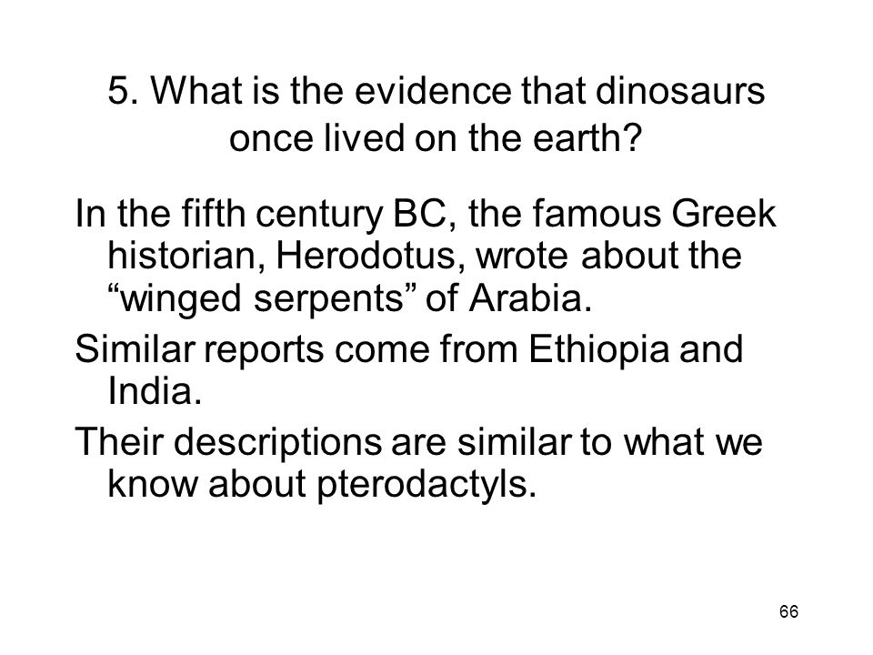 5. What is the evidence that dinosaurs once lived on the earth