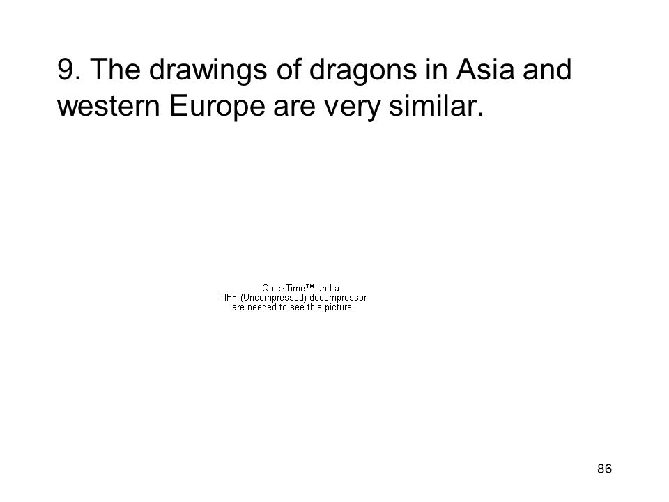9. The drawings of dragons in Asia and western Europe are very similar.