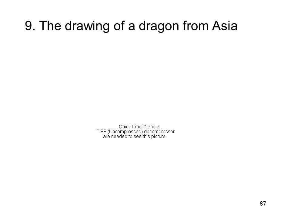 9. The drawing of a dragon from Asia