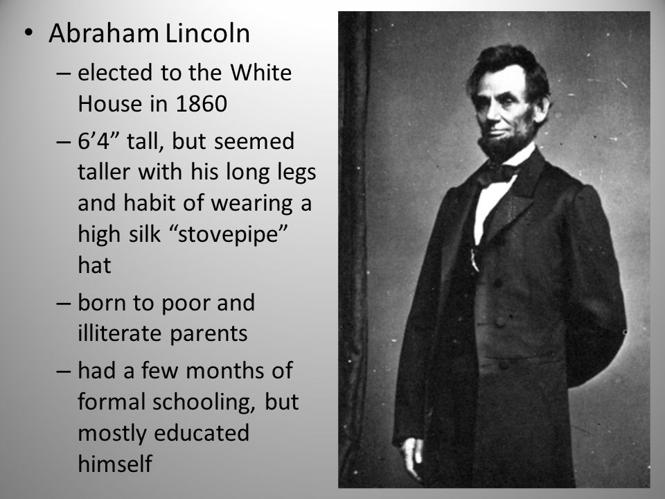Abraham Lincoln elected to the White House in 1860