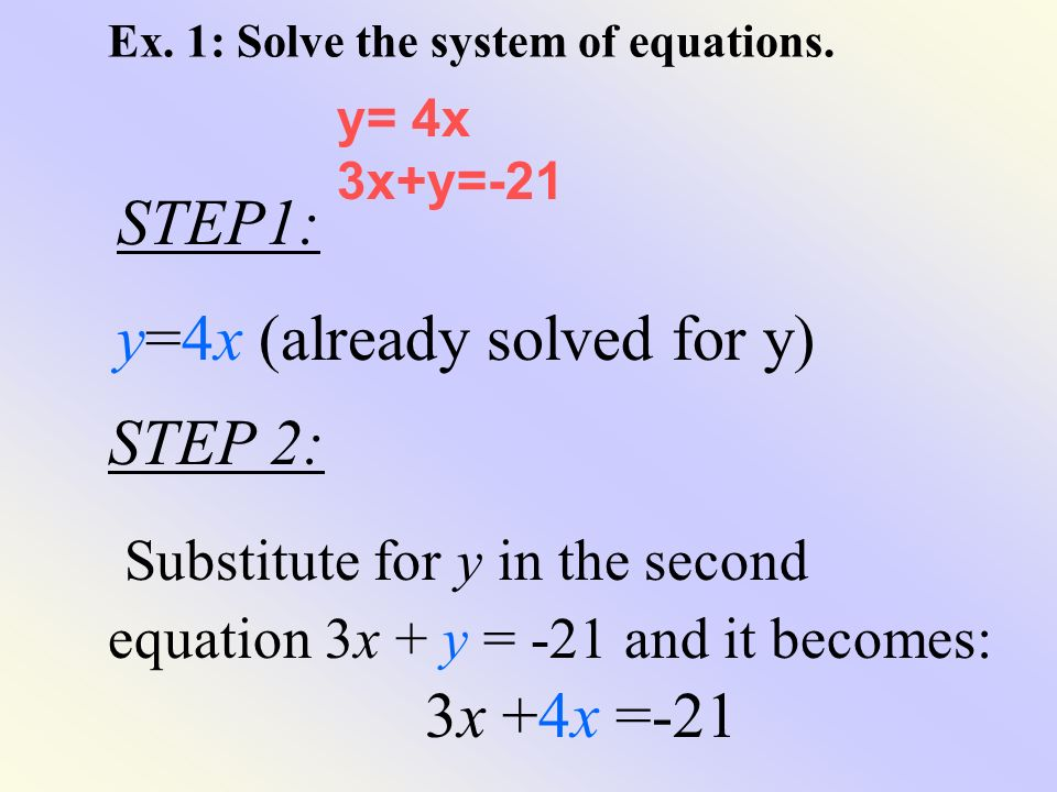 Ex. 1: Solve the system of equations.