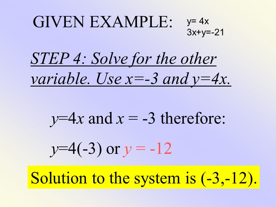 STEP 4: Solve for the other variable. Use x=-3 and y=4x.