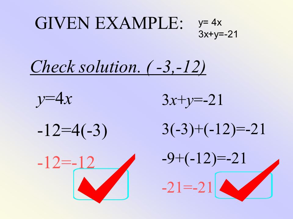 GIVEN EXAMPLE: Check solution. ( -3,-12) y=4x -12=4(-3) -12=-12