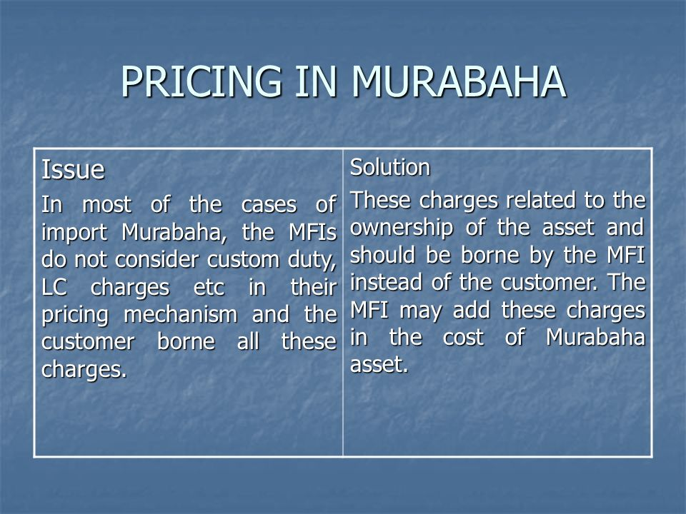 PRICING IN MURABAHA Issue Solution