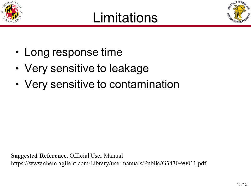 Limitations Long response time Very sensitive to leakage