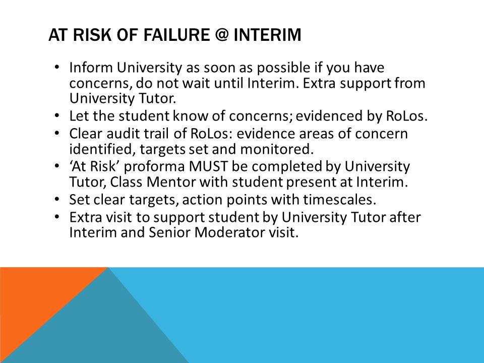AT RISK OF FAILURE @ interim