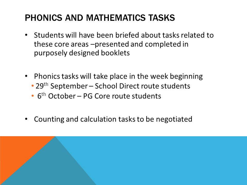 PHONics and mathematics tasks