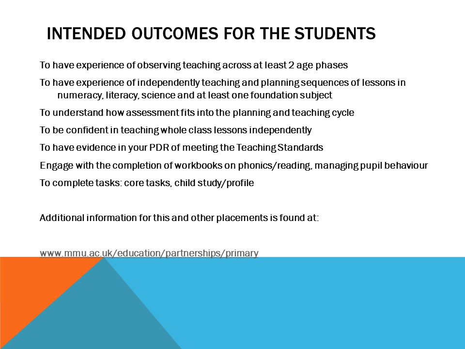 Intended outcomes for the students