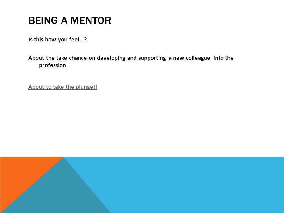 BEIng a mentor