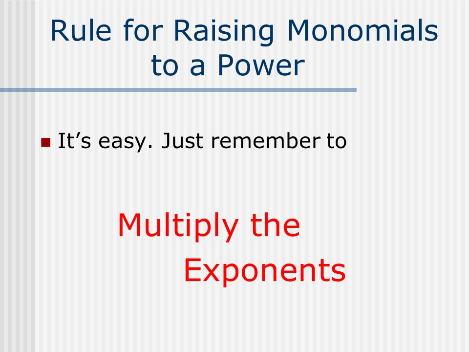 Rule for Raising Monomials to a Power
