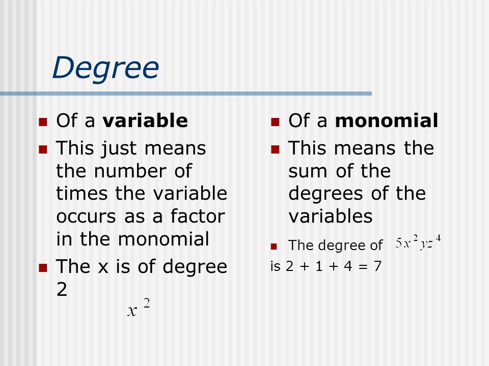 Degree Of a variable. This just means the number of times the variable occurs as a factor in the monomial.