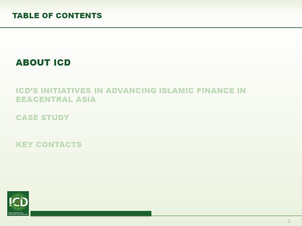 ABOUT ICD TABLE OF CONTENTS