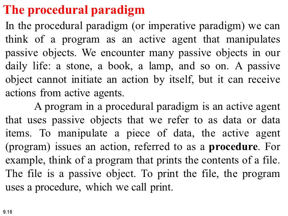 The procedural paradigm