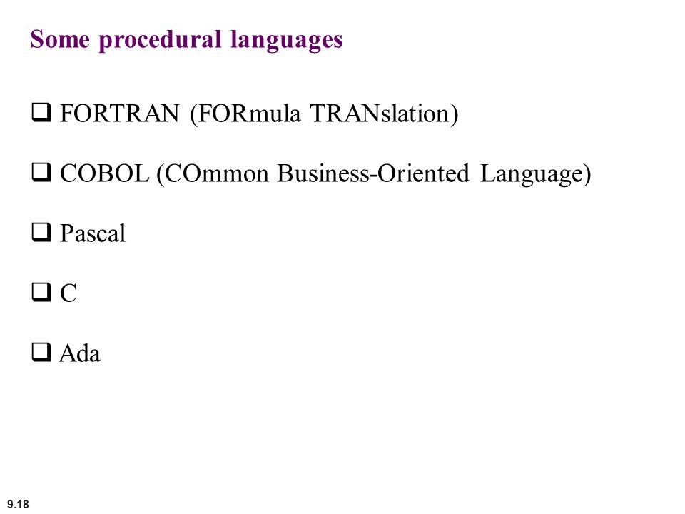 Some procedural languages