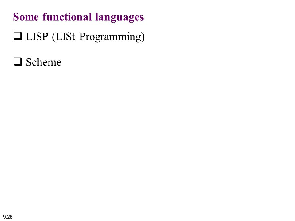 Some functional languages