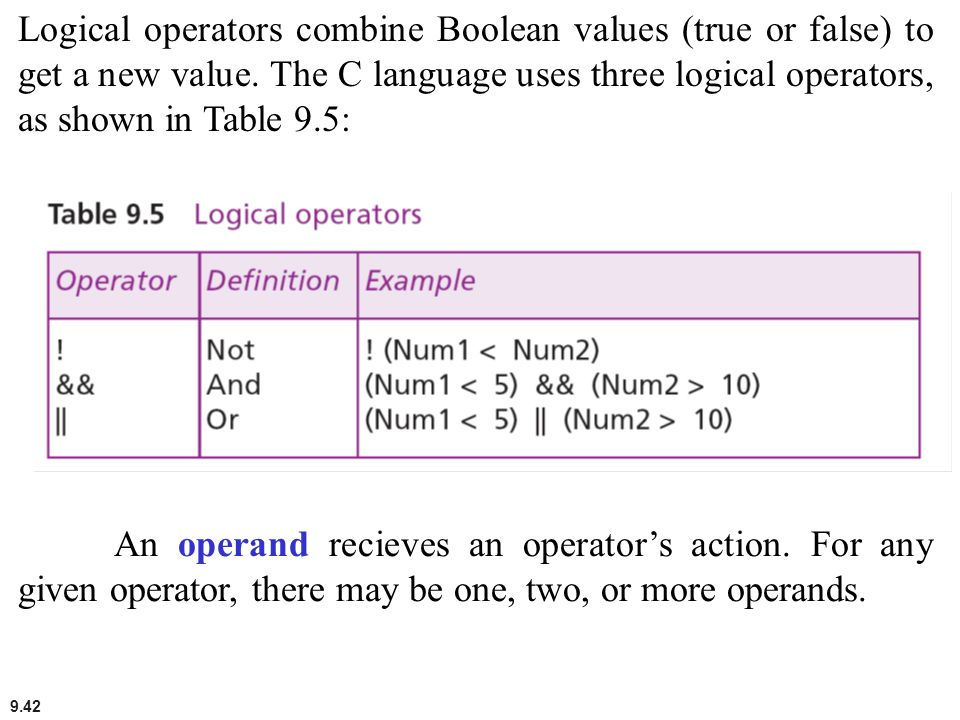 Logical operators combine Boolean values (true or false) to get a new value. The C language uses three logical operators, as shown in Table 9.5: