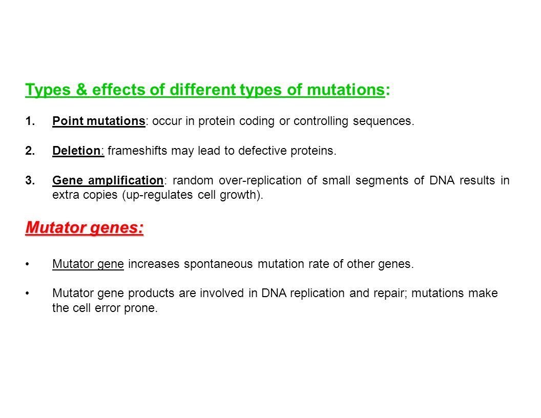 Types & effects of different types of mutations: