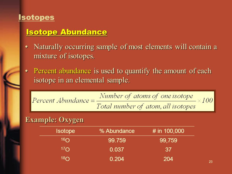 Isotopes Isotope Abundance. • Naturally occurring sample of most elements will contain a mixture of isotopes.