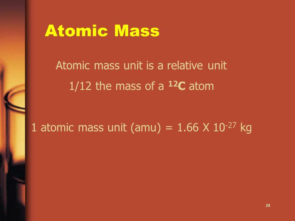 Atomic Mass Atomic mass unit is a relative unit