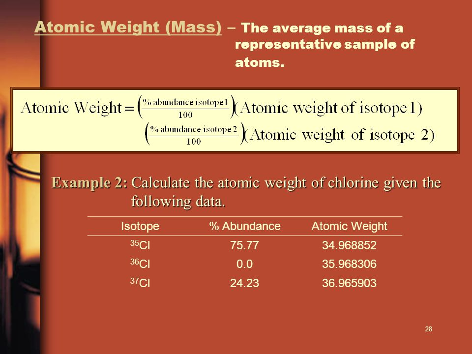 Atomic Weight (Mass) – The average mass of a representative sample of atoms.