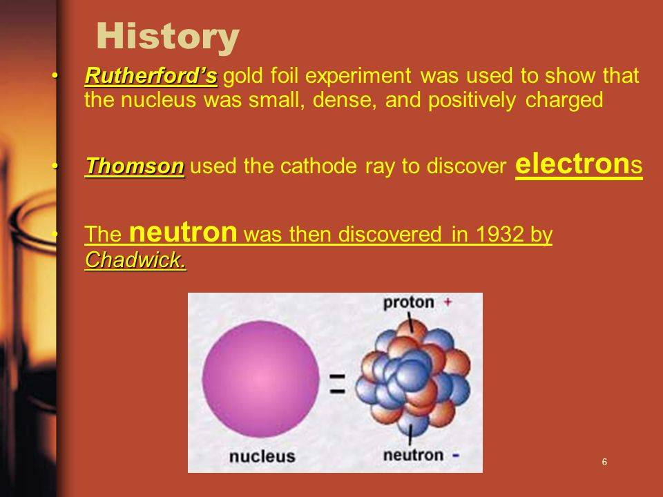 History Rutherford's gold foil experiment was used to show that the nucleus was small, dense, and positively charged.