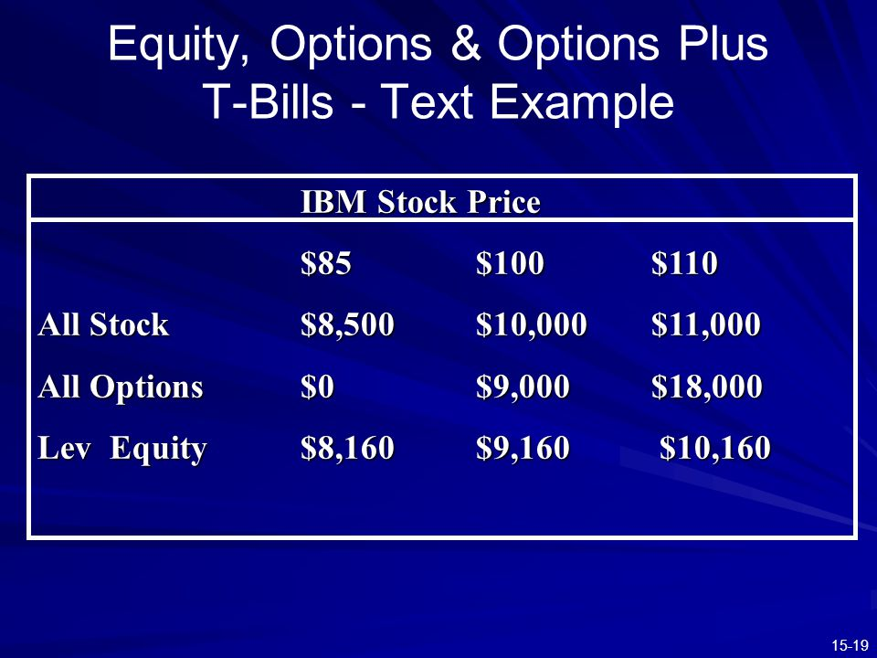 Equity, Options & Options Plus T-Bills - Text Example