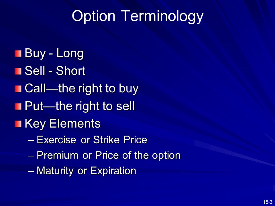 Option Terminology Buy - Long Sell - Short Call—the right to buy