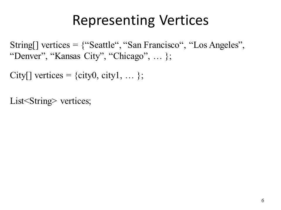 Representing Vertices