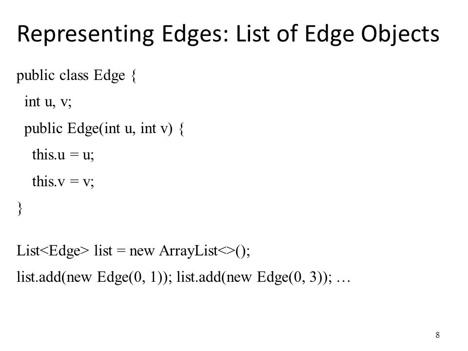 Representing Edges: List of Edge Objects