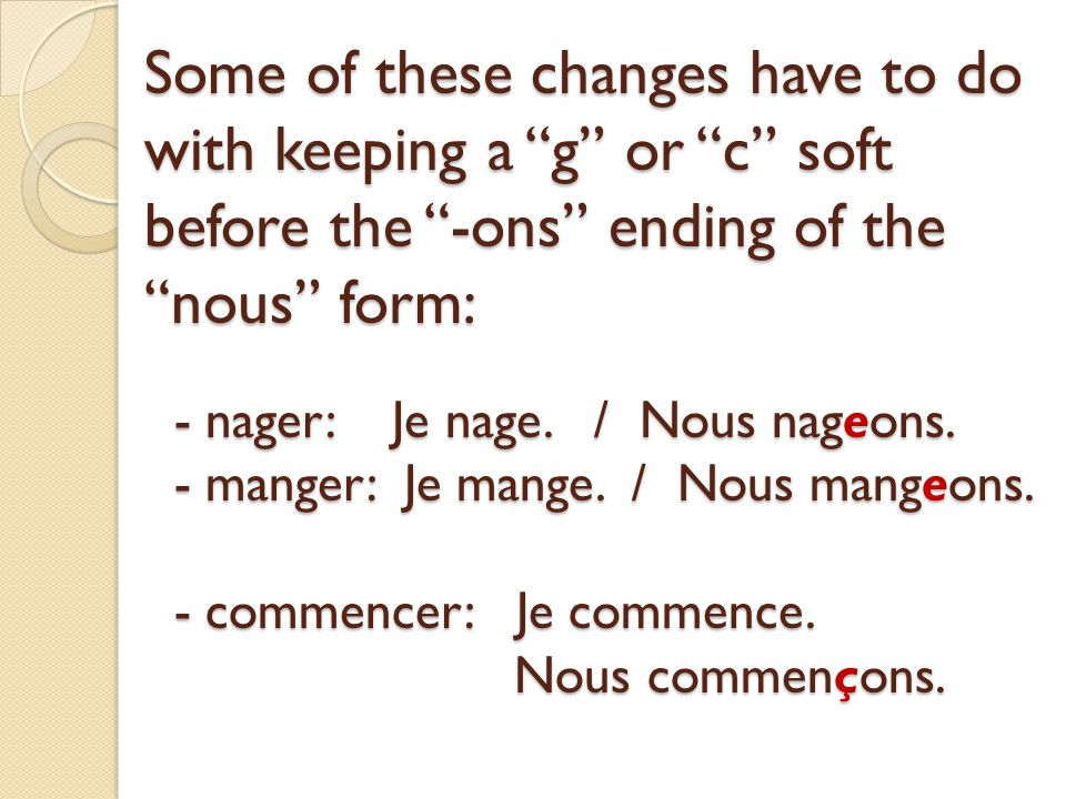 Some of these changes have to do with keeping a g or c soft before the -ons ending of the nous form: - nager: Je nage.