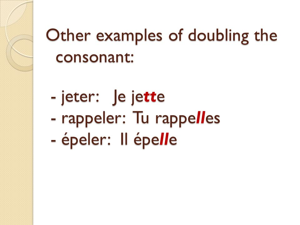Other examples of doubling the consonant: - jeter: Je jette - rappeler: Tu rappelles - épeler: Il épelle