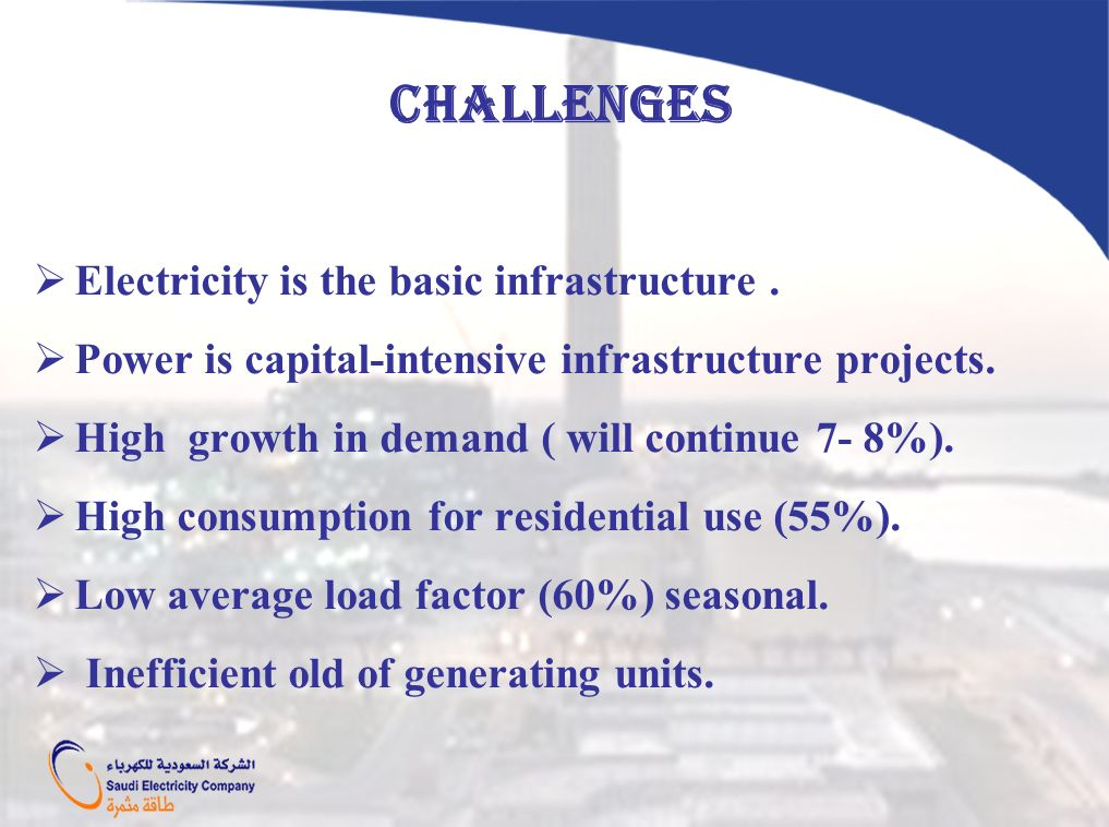 CHALLENGES Electricity is the basic infrastructure .